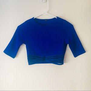 🍉3/$20 Royal Blue Sheer Panel Cutout Crop Top